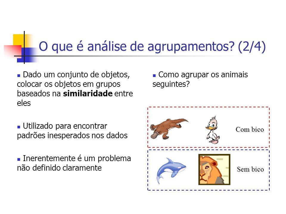 O que é análise de agrupamentos? (2/4) Dado um conjunto de objetos, colocar os objetos em grupos baseados na similaridade entre eles Utilizado para en