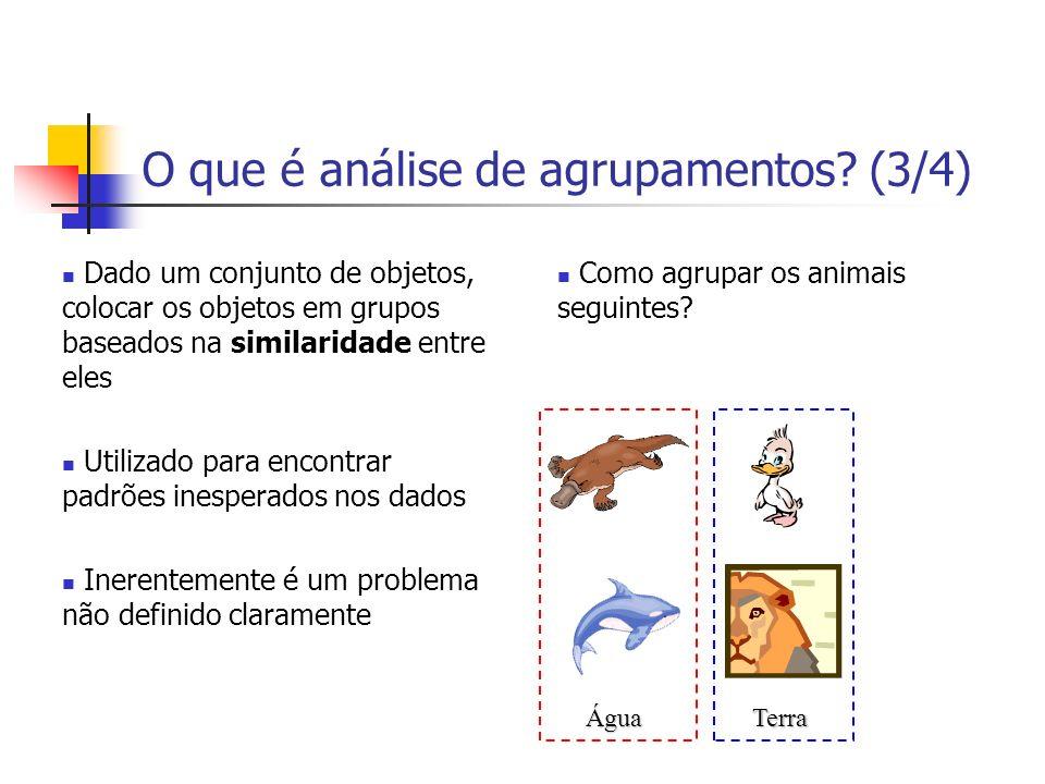 O que é análise de agrupamentos? (3/4) Dado um conjunto de objetos, colocar os objetos em grupos baseados na similaridade entre eles Utilizado para en