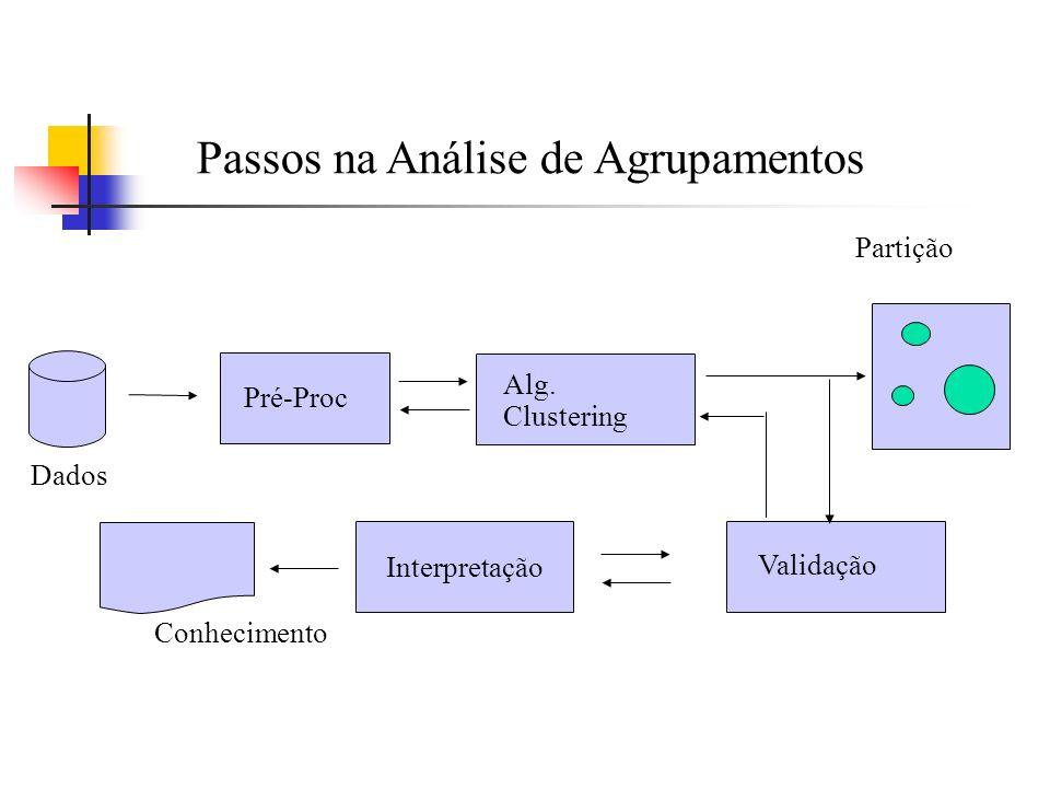 Pré-Proc Alg. Clustering Interpretação Validação Conhecimento Dados Partição Passos na Análise de Agrupamentos