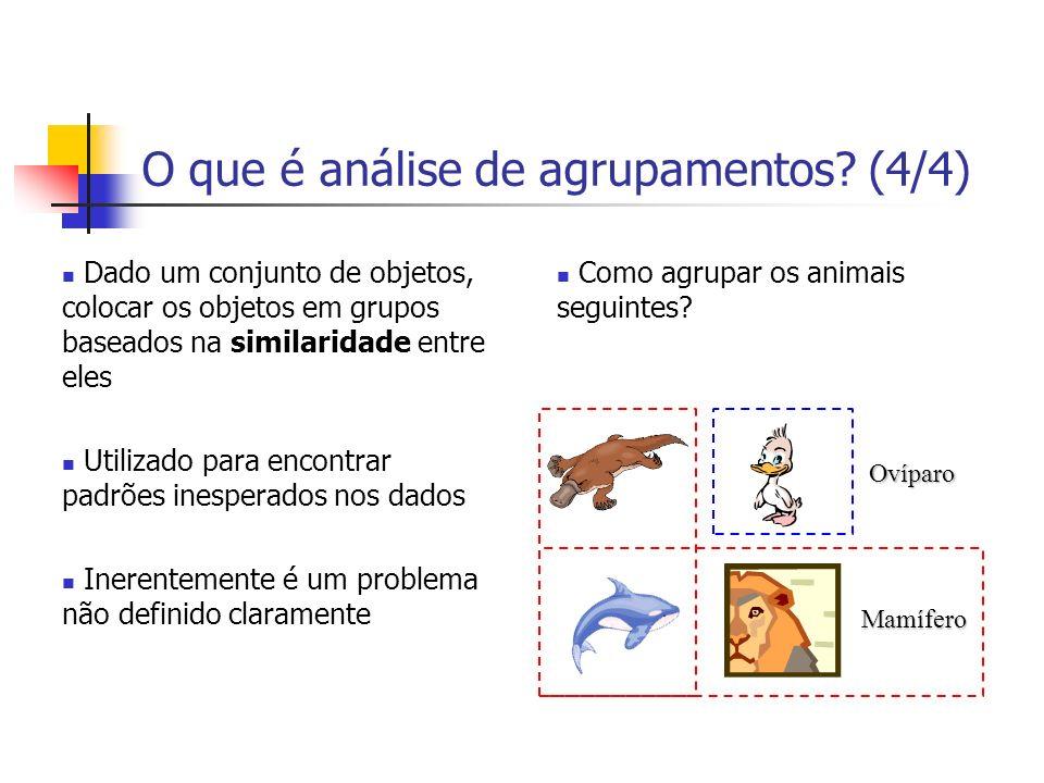 O que é análise de agrupamentos? (4/4) Dado um conjunto de objetos, colocar os objetos em grupos baseados na similaridade entre eles Utilizado para en