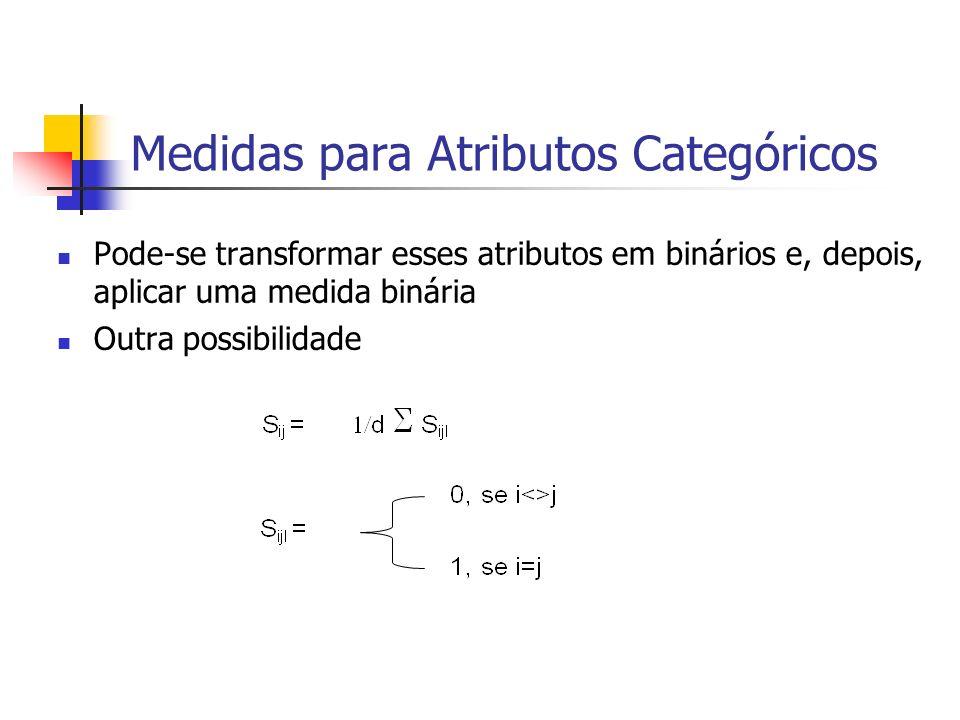 Medidas para Atributos Categóricos Pode-se transformar esses atributos em binários e, depois, aplicar uma medida binária Outra possibilidade