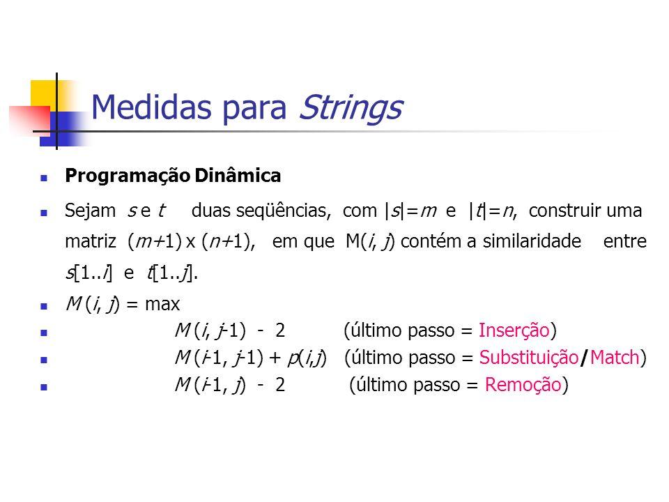 Medidas para Strings Programação Dinâmica Sejam s e t duas seqüências, com |s|=m e |t|=n, construir uma matriz (m+1) x (n+1), em que M(i, j) contém a similaridade entre s[1..i] e t[1..j].