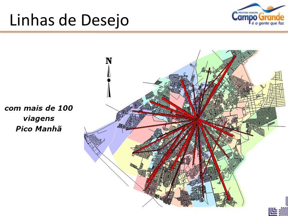 Linhas de Desejo com mais de 100 viagens Pico Manhã