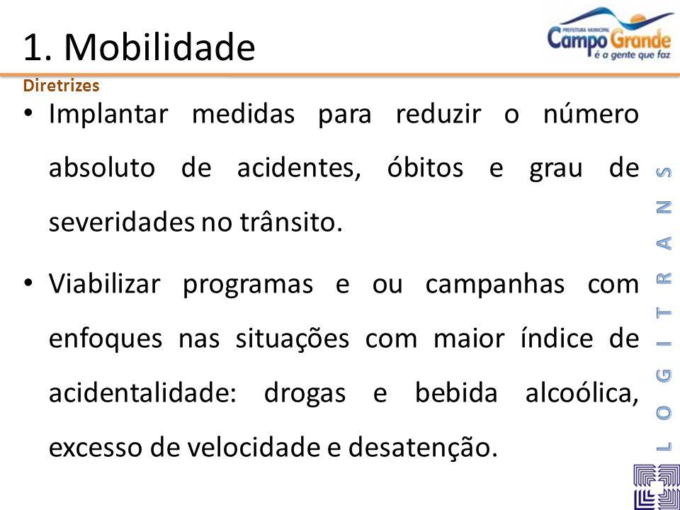 1. Mobilidade Implantar medidas para reduzir o número absoluto de acidentes, óbitos e grau de severidades no trânsito. Viabilizar programas e ou campa