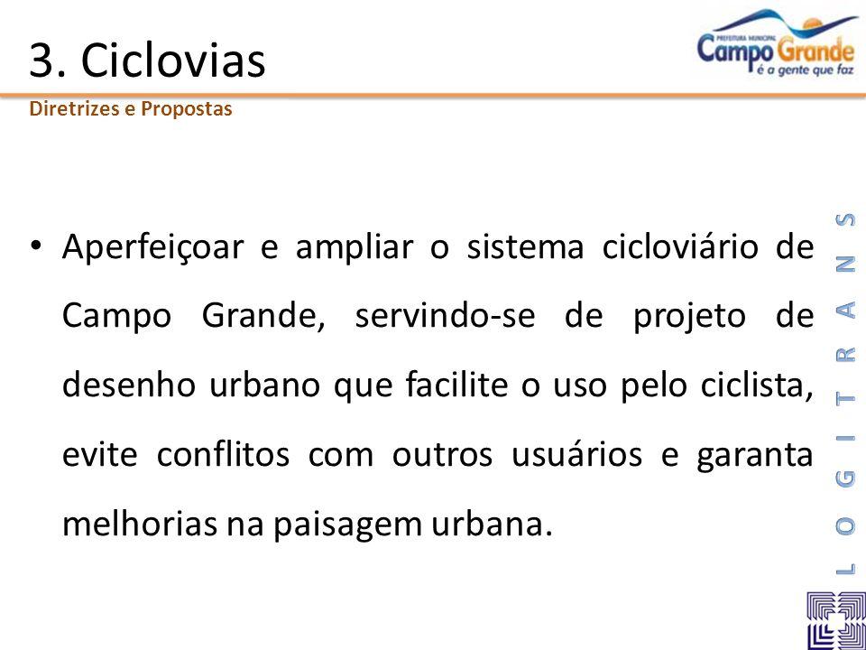 3. Ciclovias Aperfeiçoar e ampliar o sistema cicloviário de Campo Grande, servindo-se de projeto de desenho urbano que facilite o uso pelo ciclista, e