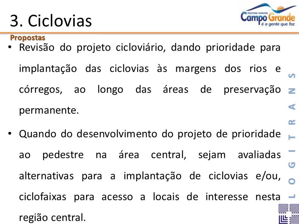 3. Ciclovias Revisão do projeto cicloviário, dando prioridade para implantação das ciclovias às margens dos rios e córregos, ao longo das áreas de pre