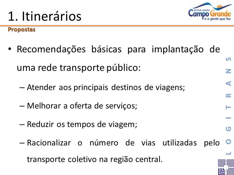 1. Itinerários Recomendações básicas para implantação de uma rede transporte público: – Atender aos principais destinos de viagens; – Melhorar a ofert