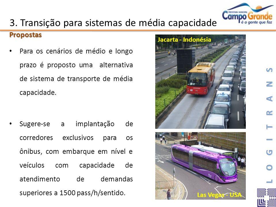 3. Transição para sistemas de média capacidade Para os cenários de médio e longo prazo é proposto uma alternativa de sistema de transporte de média ca