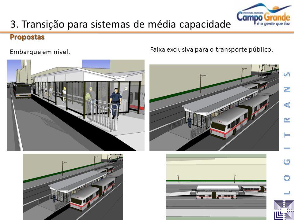 3. Transição para sistemas de média capacidadePropostas Embarque em nível. Faixa exclusiva para o transporte público.