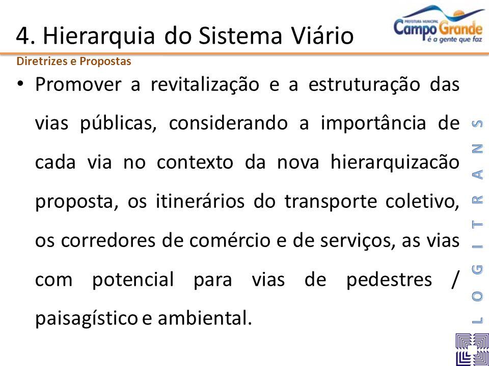 4. Hierarquia do Sistema Viário Promover a revitalização e a estruturação das vias públicas, considerando a importância de cada via no contexto da nov