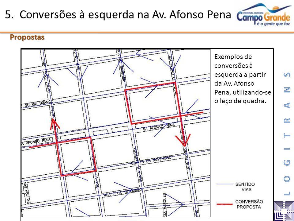 5. Conversões à esquerda na Av. Afonso Pena Propostas Exemplos de conversões à esquerda a partir da Av. Afonso Pena, utilizando-se o laço de quadra.