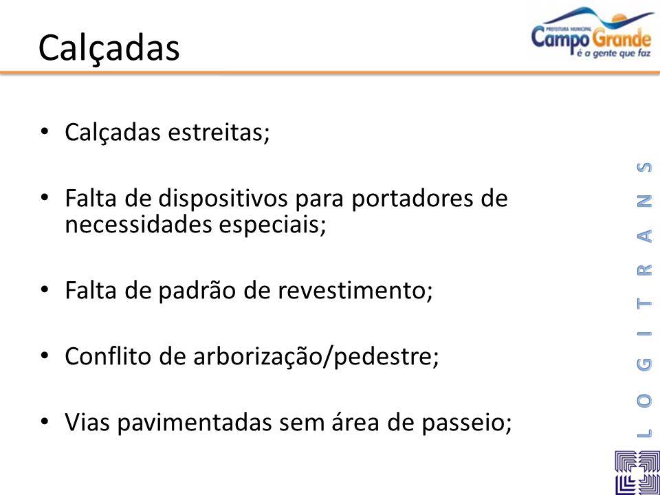 Calçadas Calçadas estreitas; Falta de dispositivos para portadores de necessidades especiais; Falta de padrão de revestimento; Conflito de arborização