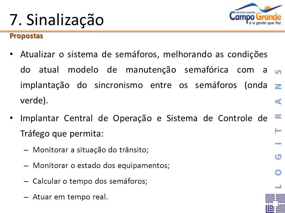 7. Sinalização Atualizar o sistema de semáforos, melhorando as condições do atual modelo de manutenção semafórica com a implantação do sincronismo ent