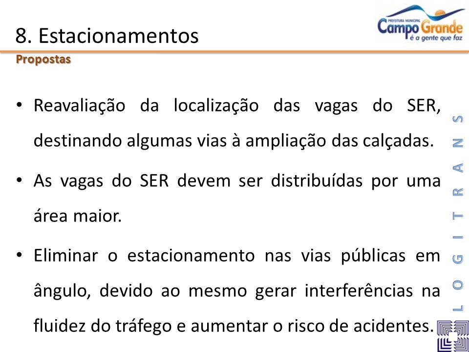 8. Estacionamentos Reavaliação da localização das vagas do SER, destinando algumas vias à ampliação das calçadas. As vagas do SER devem ser distribuíd