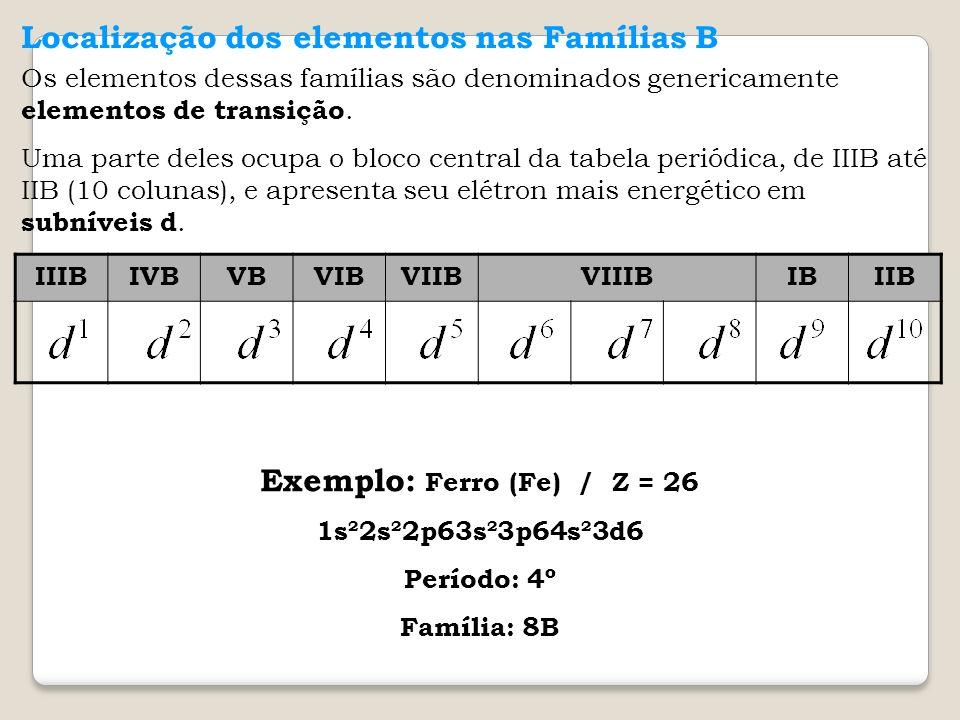 Localização dos elementos nas Famílias B Os elementos dessas famílias são denominados genericamente elementos de transição. Uma parte deles ocupa o bl