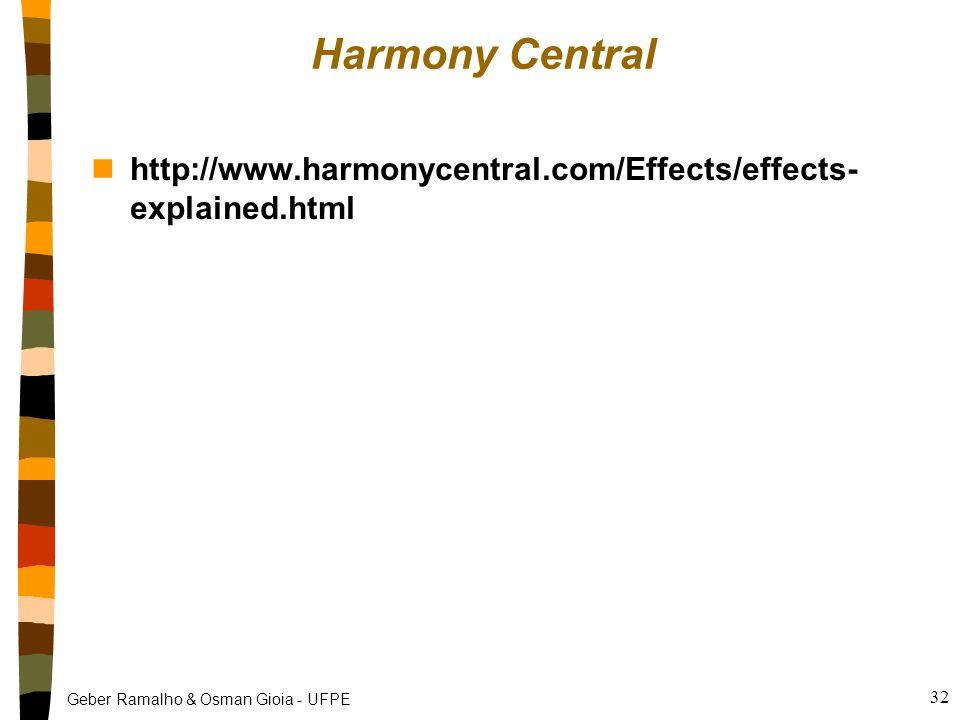 Geber Ramalho & Osman Gioia - UFPE 31 Alguns Parâmetros da reverberação nTipo de sala: pode ser hall, chamber, plate ou gate nTamanho: tempo de atraso