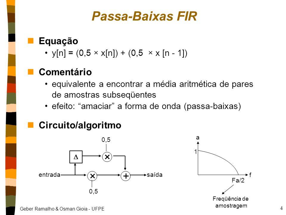 Geber Ramalho & Osman Gioia - UFPE 3 Filtros IIR e FIR nDois tipos principais de filtros Finite Impulse Response (FIR) Infinite Impulse Response (IIR)