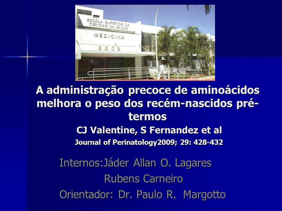 A administração precoce de aminoácidos melhora o peso dos recém-nascidos pré- termos CJ Valentine, S Fernandez et al Journal of Perinatology2009; 29: