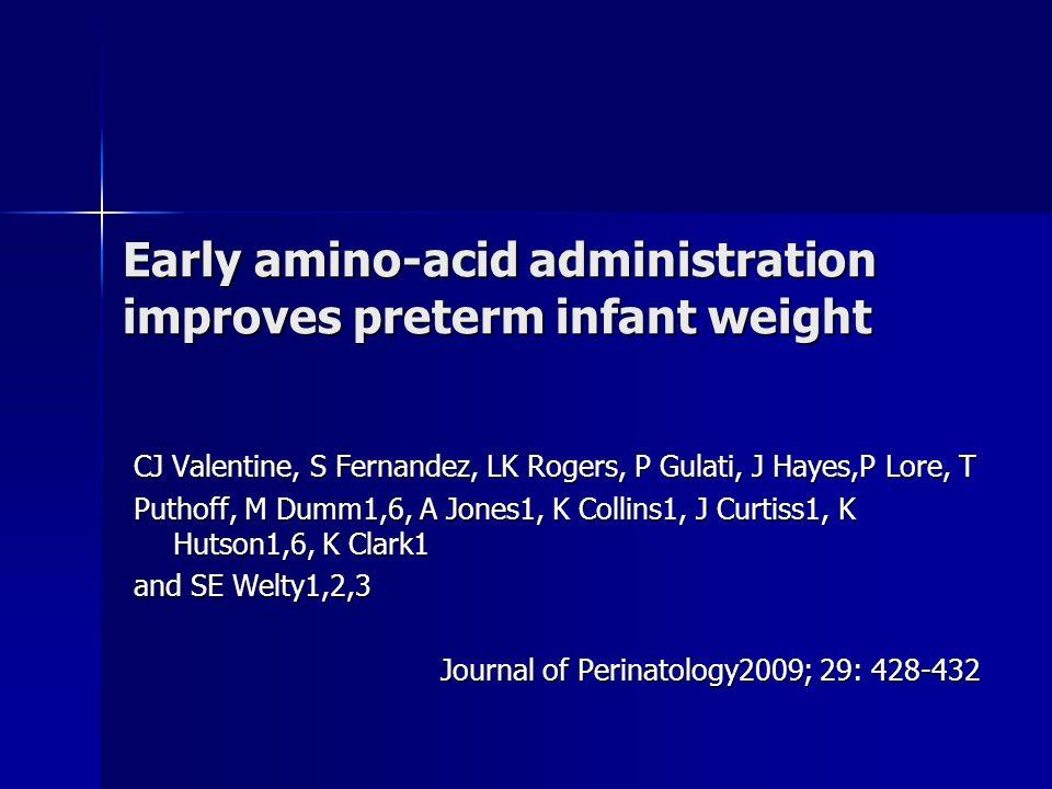Objetivo Inicio precoce de aminoácidos em RN <1500g indicaria um menor percentual de RN abaixo do percentil 10 na curva de peso quando atingir IGPC = 36 s
