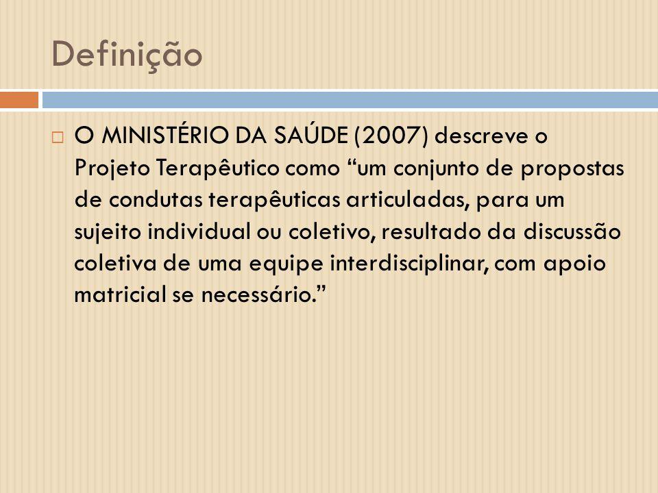 Definição O MINISTÉRIO DA SAÚDE (2007) descreve o Projeto Terapêutico como um conjunto de propostas de condutas terapêuticas articuladas, para um suje