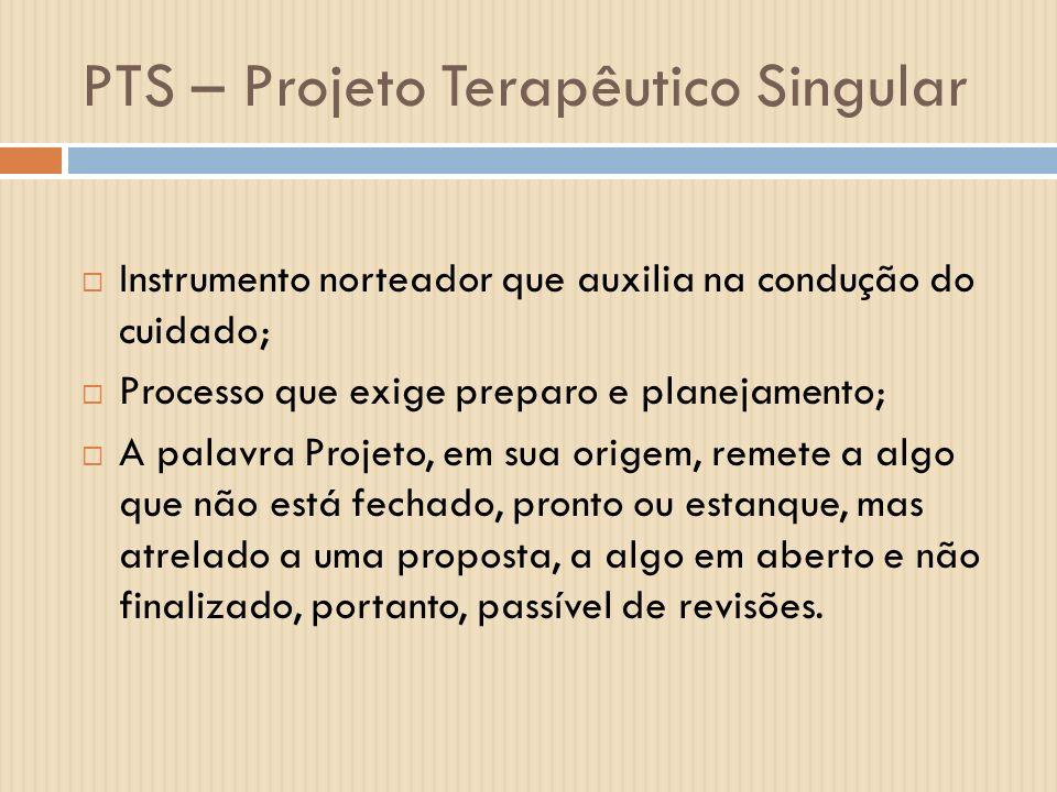 PTS – Projeto Terapêutico Singular Instrumento norteador que auxilia na condução do cuidado; Processo que exige preparo e planejamento; A palavra Proj