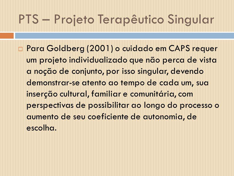 PTS – Projeto Terapêutico Singular Para Goldberg (2001) o cuidado em CAPS requer um projeto individualizado que não perca de vista a noção de conjunto