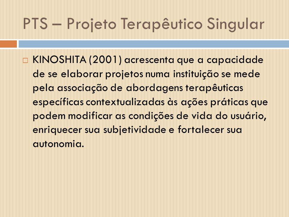 PTS – Projeto Terapêutico Singular KINOSHITA (2001) acrescenta que a capacidade de se elaborar projetos numa instituição se mede pela associação de ab