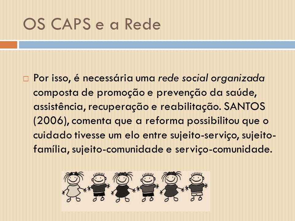 OS CAPS e a Rede Por isso, é necessária uma rede social organizada composta de promoção e prevenção da saúde, assistência, recuperação e reabilitação.
