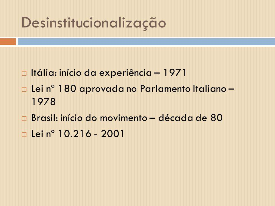 Desinstitucionalização Itália: início da experiência – 1971 Lei nº 180 aprovada no Parlamento Italiano – 1978 Brasil: início do movimento – década de