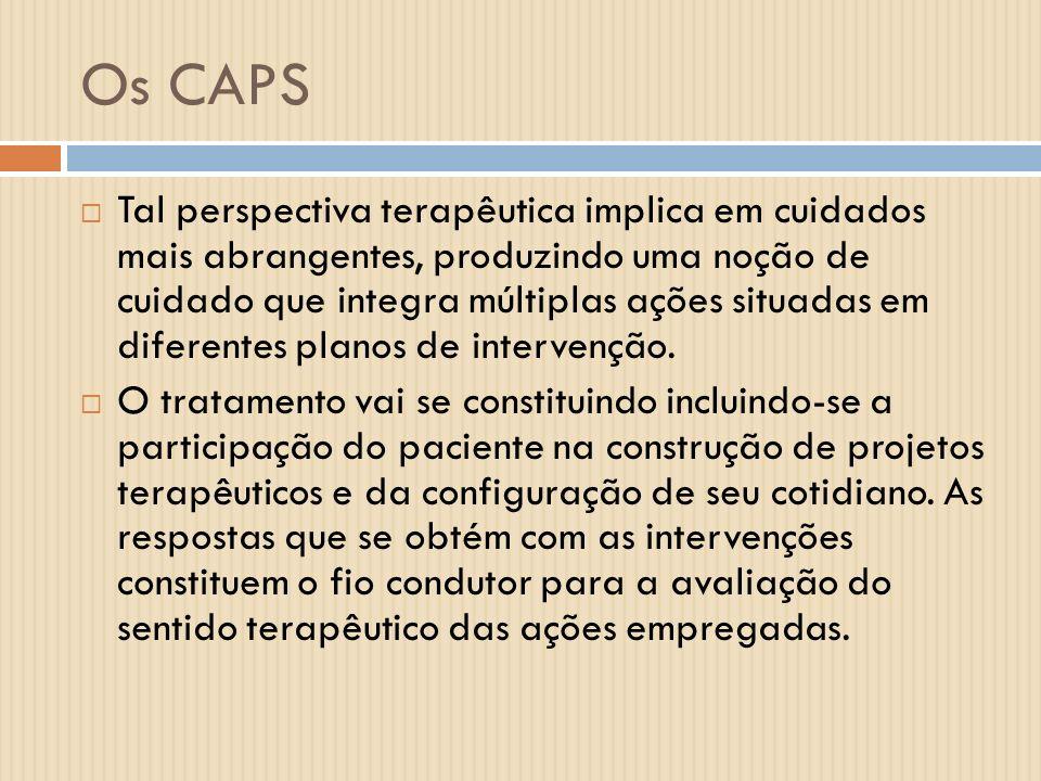 Os CAPS Tal perspectiva terapêutica implica em cuidados mais abrangentes, produzindo uma noção de cuidado que integra múltiplas ações situadas em dife