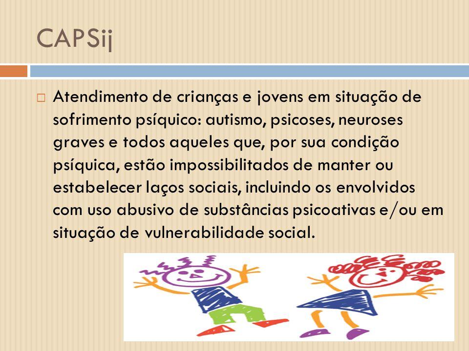 CAPSij Atendimento de crianças e jovens em situação de sofrimento psíquico: autismo, psicoses, neuroses graves e todos aqueles que, por sua condição p