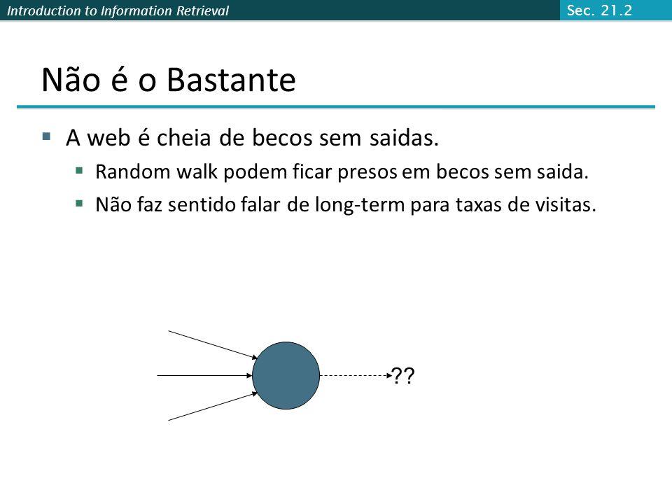 Introduction to Information Retrieval Pontuação Pagerank Imagine um navegador fazendo um passeio aleatório em páginas da Web: Estartar uma página rand