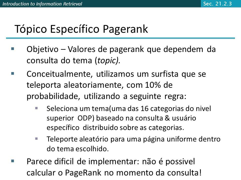 Introduction to Information Retrieval Pagerank: Questões e Variantes Quão realista é modelo surfar (surfer model) randômico? (Isso é importante?). E s