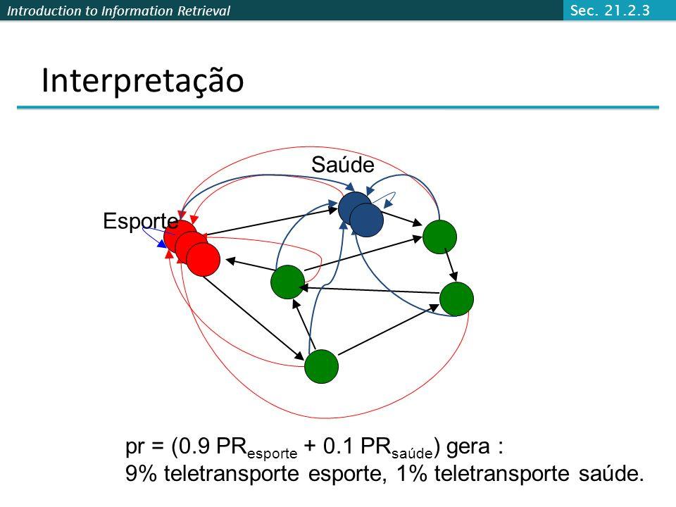 Introduction to Information Retrieval Interpretação Saúde 10% teletransporte saúde. Sec. 21.2.3