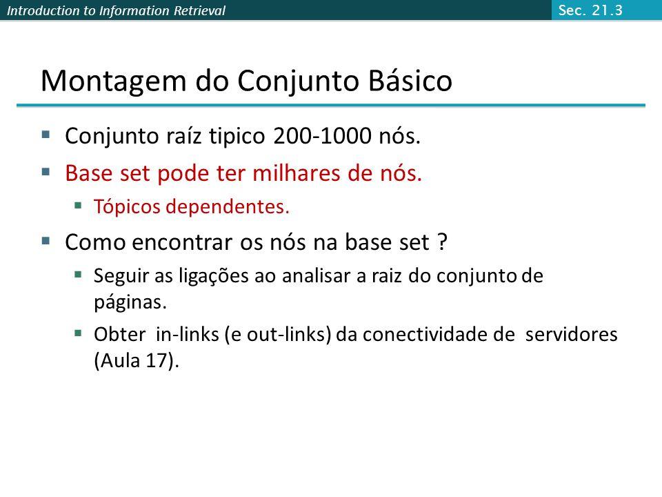 Introduction to Information Retrieval Visualização Conj raiz Base set Sec. 21.3