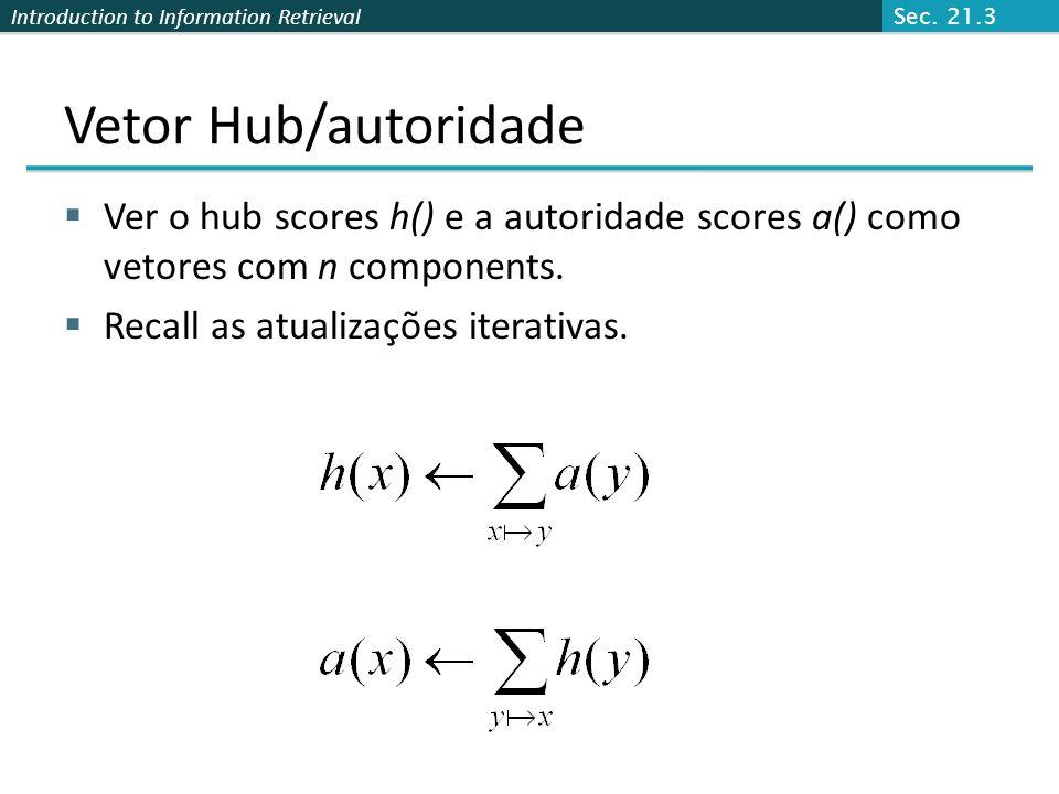 Introduction to Information Retrieval Prova da Convergência n n adjacency matrix A: Cada uma das n páginas na base set tem uma linha e coluna na matri