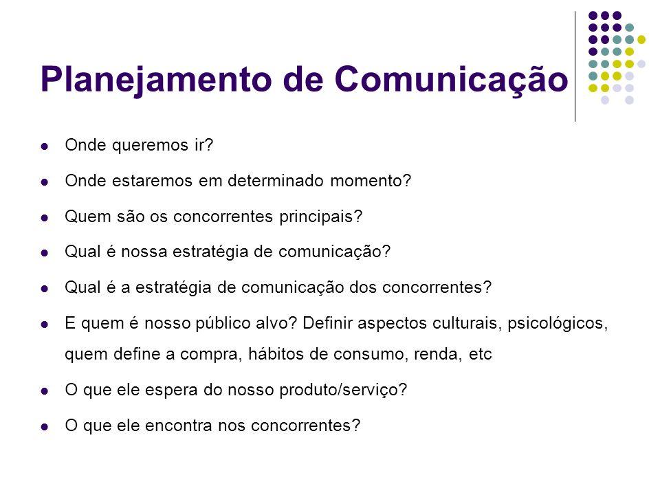 Planejamento de Comunicação Onde queremos ir? Onde estaremos em determinado momento? Quem são os concorrentes principais? Qual é nossa estratégia de c
