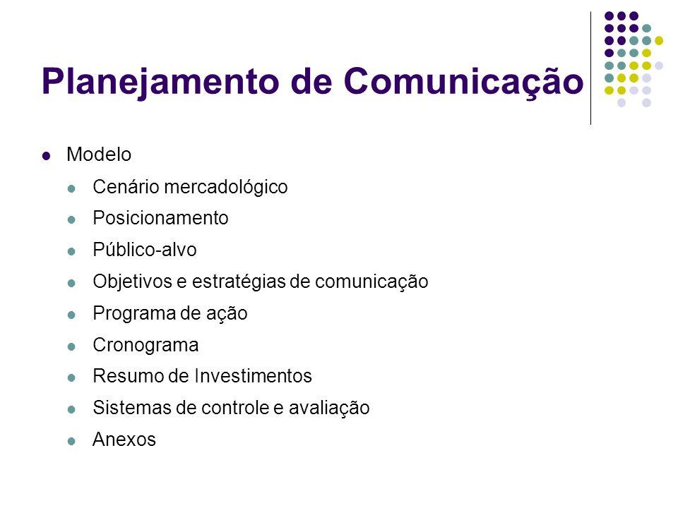 Planejamento de Comunicação Modelo Cenário mercadológico Posicionamento Público-alvo Objetivos e estratégias de comunicação Programa de ação Cronogram