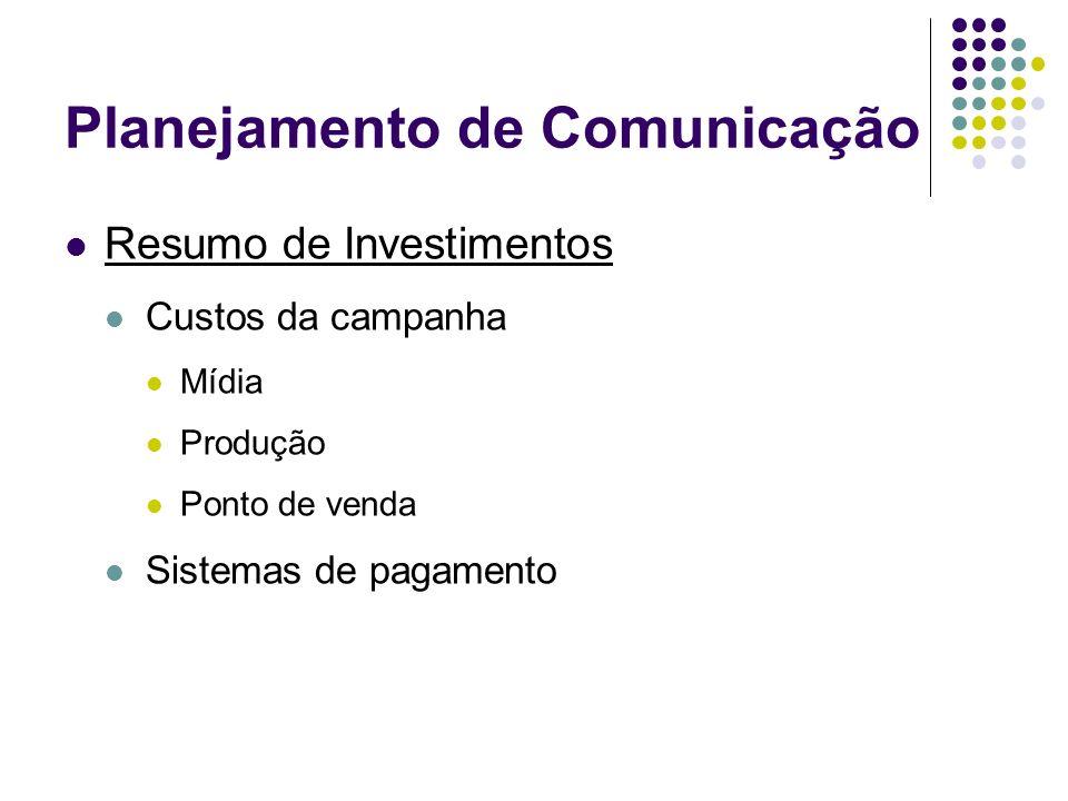 Planejamento de Comunicação Resumo de Investimentos Custos da campanha Mídia Produção Ponto de venda Sistemas de pagamento