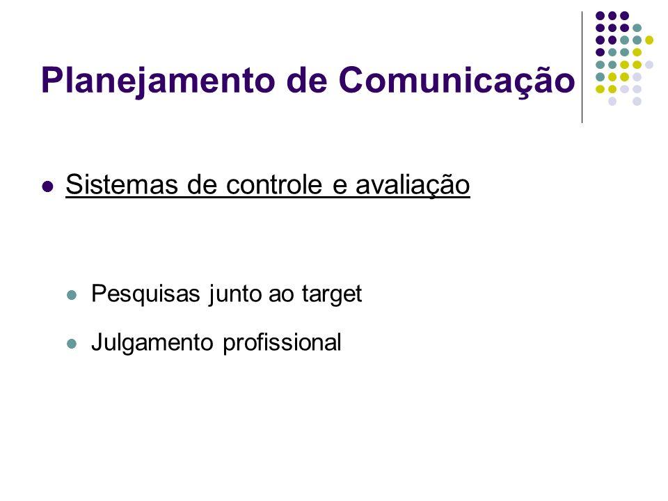 Planejamento de Comunicação Sistemas de controle e avaliação Pesquisas junto ao target Julgamento profissional