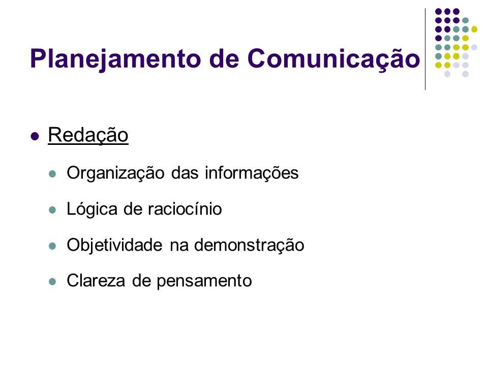 Planejamento de Comunicação Redação Organização das informações Lógica de raciocínio Objetividade na demonstração Clareza de pensamento