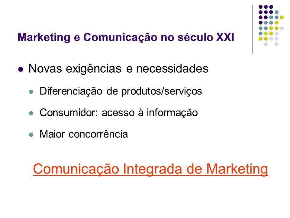 Marketing e Comunicação no século XXI Novas exigências e necessidades Diferenciação de produtos/serviços Consumidor: acesso à informação Maior concorr