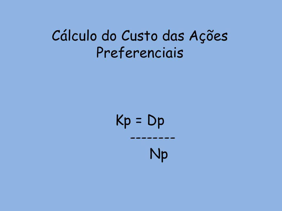 Cálculo do Custo das Ações Preferenciais Kp = Dp -------- Np