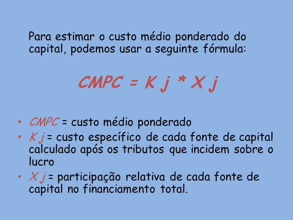 Para estimar o custo médio ponderado do capital, podemos usar a seguinte fórmula: CMPC = K j * X j CMPC = custo médio ponderado K j = custo específico