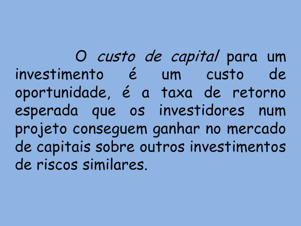 O custo de capital para um investimento é um custo de oportunidade, é a taxa de retorno esperada que os investidores num projeto conseguem ganhar no m
