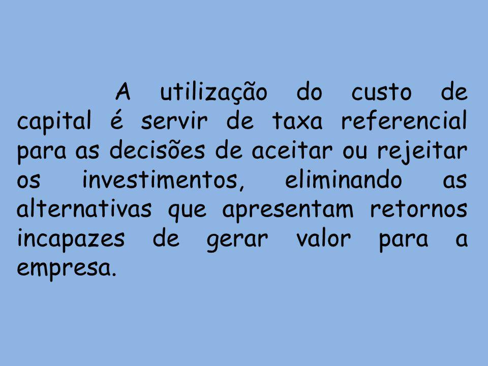 A utilização do custo de capital é servir de taxa referencial para as decisões de aceitar ou rejeitar os investimentos, eliminando as alternativas que