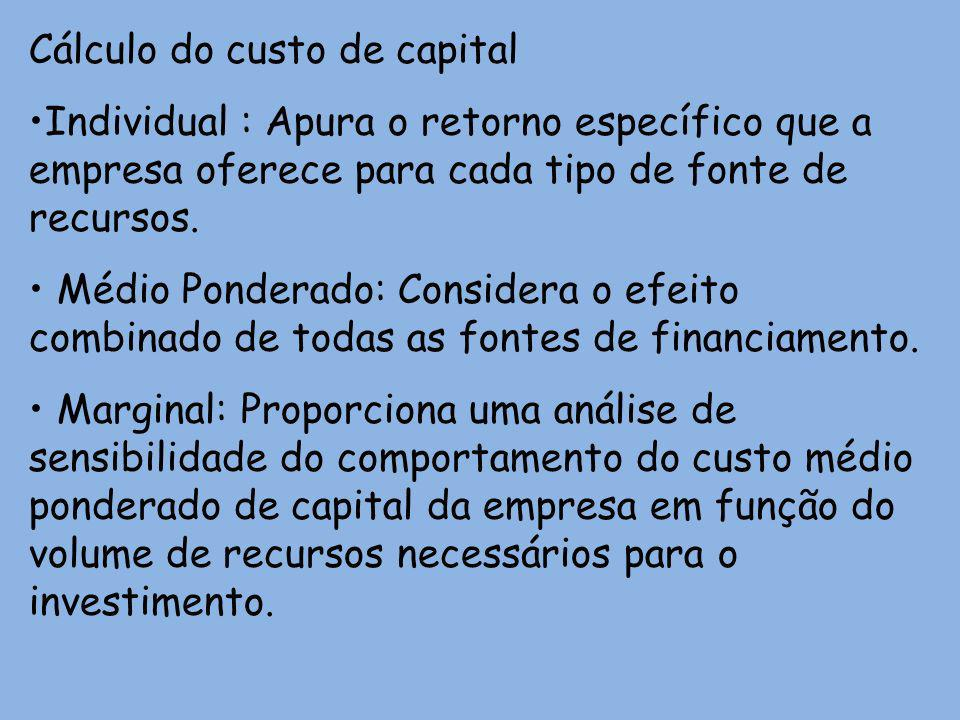 Cálculo do custo de capital Individual : Apura o retorno específico que a empresa oferece para cada tipo de fonte de recursos. Médio Ponderado: Consid