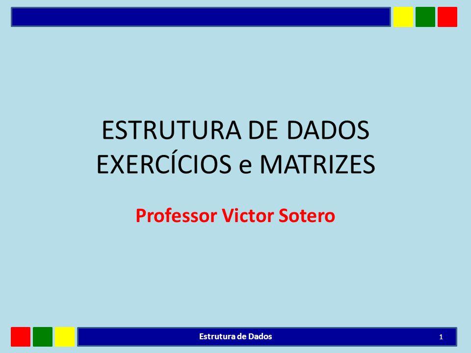 ESTRUTURA DE DADOS EXERCÍCIOS e MATRIZES Professor Victor Sotero Estrutura de Dados 1