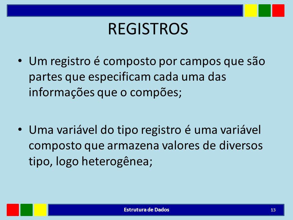 REGISTROS Um registro é composto por campos que são partes que especificam cada uma das informações que o compões; Uma variável do tipo registro é uma