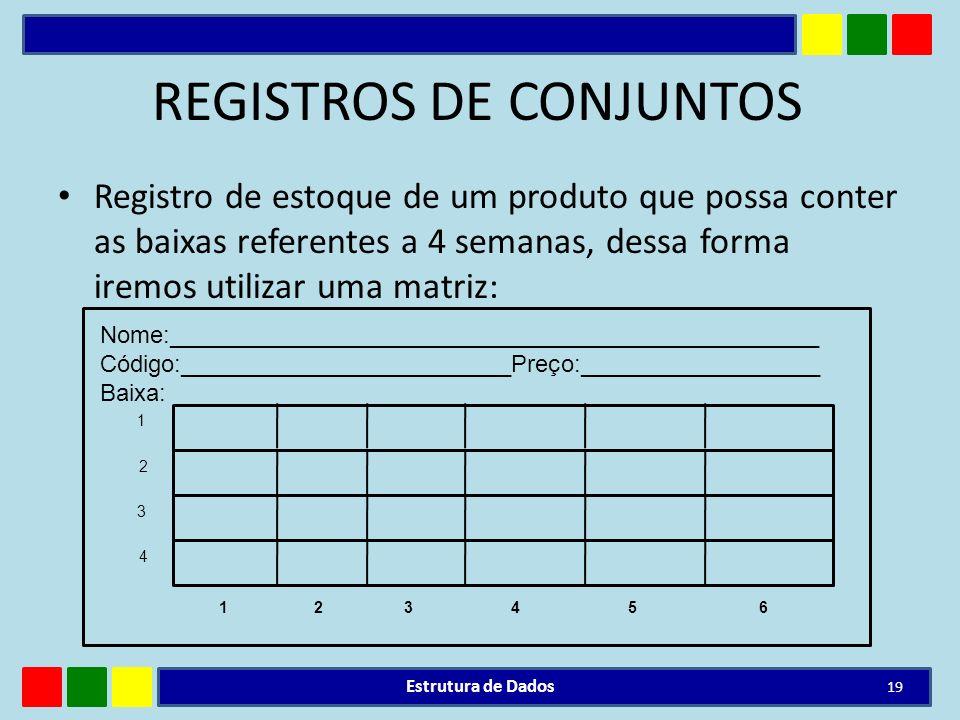 REGISTROS DE CONJUNTOS Registro de estoque de um produto que possa conter as baixas referentes a 4 semanas, dessa forma iremos utilizar uma matriz: Es